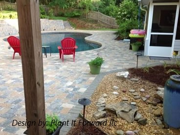 Pool and Flagstone Paver Patio  design by: Plant It Forward llc