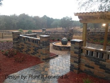 Patio with Water Feature  Design by:Plant It Forward LLC