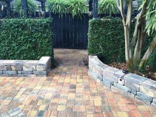 Patio Stone Walkway and Small Walls