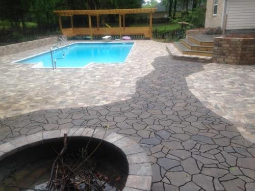 Pool and Flagstone Paver Patio